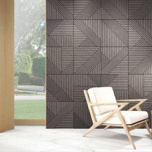 Imitujące drewno płytki ceramiczne Tangram marki Realonda - idealnie odwzorowują drewniane panele dekoracyjne. Fot. Realonda