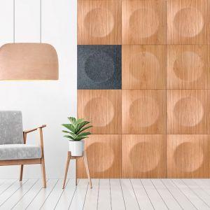 Drewniane panele jako dekoracja części ściany. Model Hoop marki Bester Studio.Cena: 984-1476 zł/m2, fot. Bester Studio