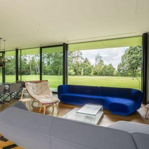 Projekt salonu z nowoczesną kanapą w niebieskim welwetowym obiciu. Projekt Green Line House od Mobius Architekci Przemek Olczyk. Fot. Paweł Ulatowski