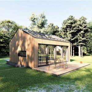 Projekt domu na zgłoszenie Mini-mini 1. Domek posiada 4 pomieszczenia: przedsionek, kotłownię, łazienkę oraz pokój dzienny z aneksem kuchennym. Powierzchnia: 21,84 m. Koszt budowy: ok 80 tys. netto (stan deweloperski). Extradom.pl
