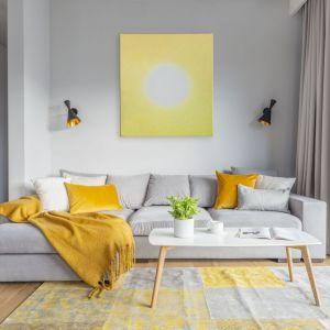 Salon urządzony w spokojnych szarościach ociepla drewno i dodatki w żółtym kolorze, które również pięknie ożywiają wnętrze. Projekt i zdjęcia: Renata Blaźniak-Kuczyńska, Renee's Interior Design