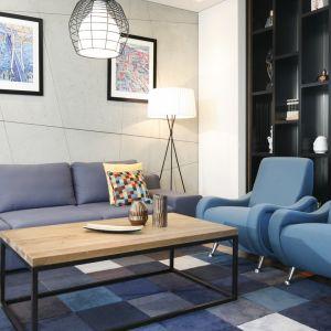 Modny dywan o wzorze w kolorowe kwadraty dobrano pod kolor mebli. Projekt: Monika i Adam Bronikowscy. Fot. Bartosz Jarosz