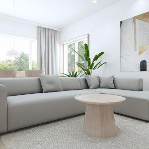 W salonie króluje piękny nowoczesny obraz Iwony Bilskiej. Projekt: Sebastian Marach, pracownia Yono Architecture