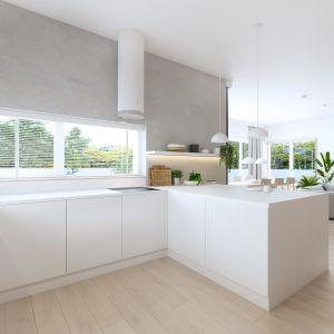 Nowoczesna kuchnia z białą matową zabudową kuchenną. Projekt: Sebastian Marach, pracownia Yono Architecture