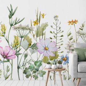 Tapeta-mural -mural w swojski wzór łąki. Najmodniejsze i najładniejsze są na pewno te, które wyglądają jak malowane akwarelami. Fot. Wallsaucecom