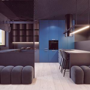 Kuchnia jest częściowo osłonięta od salonu i strefy wejściowej. Autorka projektu  wizualizacji: Edyta Bystroń, Pracownia Projektowania Wnętrz Loci