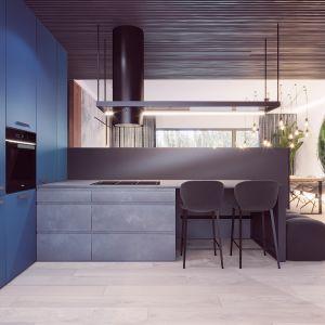 Niebieskie fronty kuchenne w duecie z betonową szarością laminatu na wyspie. Autorka projektu  wizualizacji: Edyta Bystroń, Pracownia Projektowania Wnętrz Loci