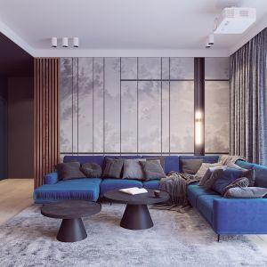 Na ścianie za kanapą zaprojektowano całkowicie schowany regał na książki z frontami pokrytymi tapetą. Autorka projektu  wizualizacji: Edyta Bystroń, Pracownia Projektowania Wnętrz Loci