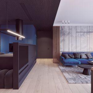 Na suficie zamontowano czarne drewniane lamele. Autorka projektu  wizualizacji: Edyta Bystroń, Pracownia Projektowania Wnętrz Loci