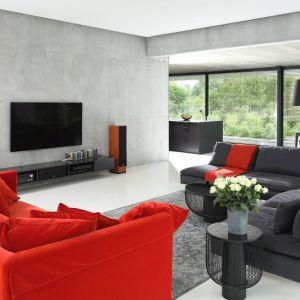 Szary, nowoczesny salon doskonale ożywia kanapa w czerwonym kolorze, która jest mocnym elementem wnętrza. Autorzy projektu: Hanna i Seweryn Nogalscy, Beton House. Fot. Bartosz Jarosz