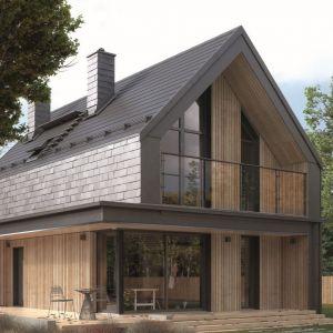 Projekt małego, bardzo ciekawego domu w stylu nowoczesnej stodoły. Nazwa projektu: Malutki 2. Autorzy projektu: pracownia DOMYwStylu.pl