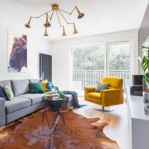Szara sofa o prostej nowoczesnej formie. Projekt gama design współ Joanna Rej fot Pion Poziom