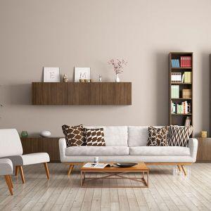 Pastelowy beż na ścianie w salonie to świetny wybór do małego i dużego wnętrza. Fot. Dekoral