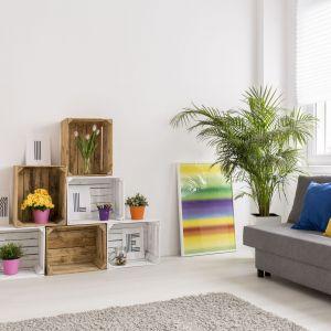 Biała ściany w salonie możemy zestawić z mocnymi kolorami w dodatkach - dzięki temu wnętrze salonu nabierze charakteru! Fot. Jedynka