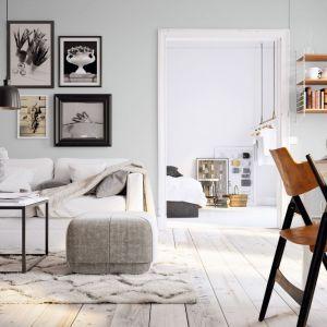 Subtelna gołębia szarość na ścianach w tym pięknym salonie w stylu vintage wygląda naprawdę świetnie! Fot. Tikkurila
