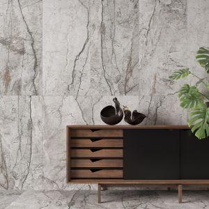 Kolekcja Marble Skin inspirowana ponadczasowym marmurem, prezentuje jego szlachetne i klasyczne oblicze. Kolorystyka płytek utrzymana jest w odcieniach głębokiej szarości w surowym, matowym wykończeniu. 189,99 zł/mkw. (60x60 cm), 199,99 zł/mkw. (80x80 cm), 219,99 zł/mkw. (60x120 cm). Fot. Opoczno