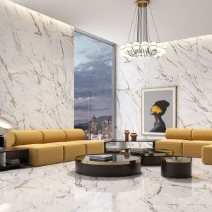 Jasne płytki naśladujące niepowtarzalny rysunek marmuru to pomysł na wyjątkowo elegancki salon. Na zdjęciu kolekcja Oikos marki Geotiles. 155 zł/m2 (60x120). Fot. Geotiles/Carrea