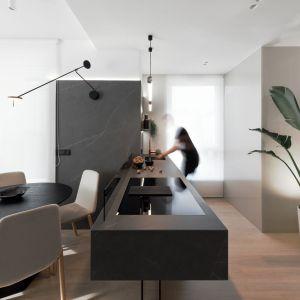 86-metrowe mieszkanie w Warszawie urządzone jest w bieli, czerni i szarościach. Projekt: pracownia hilight.design