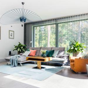 Piękny stylowy salon w szarościach - przytulne wnętrze w naturalnym stylu. Projekt: Małgorzata Denst, 2DENST Projektowanie wnętrz. Zdjęcia Marta Behling/Pion Poziom Fotografia Wnętrz
