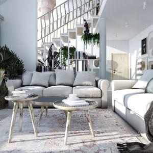 Jasny salon w klasycznym stylu z dwiema szarymi kanapami. Projekt: Marta Ogrodowczyk, Marta Piórkowska. Wizualizacje: Elżbieta Paćkowska