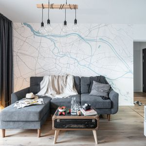 W tym małym salonie szary kolor zdecydowanie dominuje. Szara kanapa i zasłony. Projekt i zdjęcia: pracownia KODO Projekty i Realizacje Wnętrz