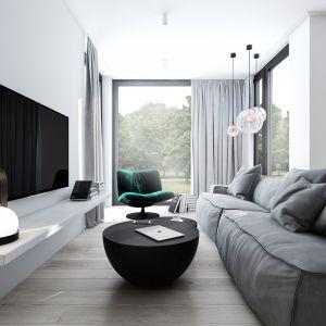 Niewielki szary salon z kanapą i zasłonami w szarościach. Projekt: AM.Home