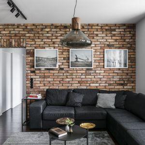 Cegłę zdobiącą ścianę za kanapą zestawiono w tym salonie z czernią, co prezentuje się nowocześnie i bardzo ciekawie. Projekt: Magdalena Bielicka, Maria Zrzelska-Pawlak. Fot. Foto&Mohito