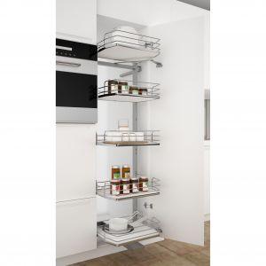 Idealnym rozwiązaniem na przechowywanie większych ilości produktów spożywczych i sprzętów kuchennych są carga. Na zdjęciu: cargo Sige 295i. Fot. Häfele