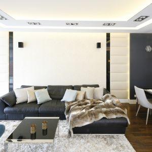 Ścianę w salonie zdobią złote panele. Projekt Agnieszka Hajdas-Obajtek. Fot. Bartosz Jarosz