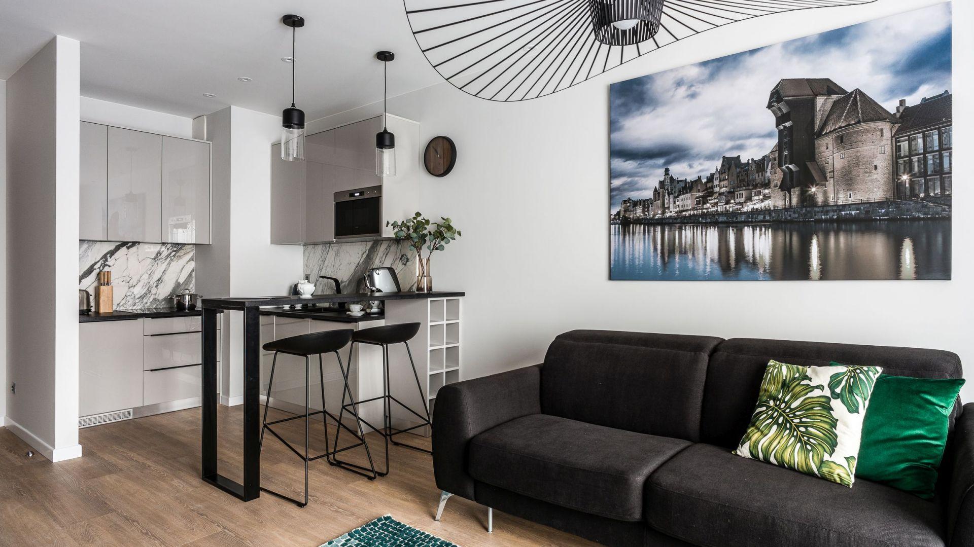 Mały salon połączono z kuchnią. Projekt Estera i Robert Sosnowscy. Fot. FotoMohito