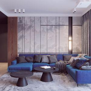 Dwa czarne stoliki o ładnym kształcie stanowią piękną ozdobę salonu. Projekt i wizualizacje: Edyta Bystroń, Pracownia Projektowania Wnętrz Loci