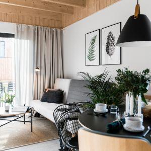 W salonie znalazła się rozkładana sofa. Projekt: Raca Architekci. Fot. Fotomohito