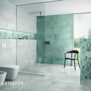 Jedną z wielu zalet płytek Engers jest możliwość zróżnicowanych powiązań kolorystycznych w obrębie tej samej palety. Projektanci kolekcji zadbali o harmonię zastosowanych w niej kolorów, dzięki czemu można je swobodnie łączyć. Fot. Majolika Engers
