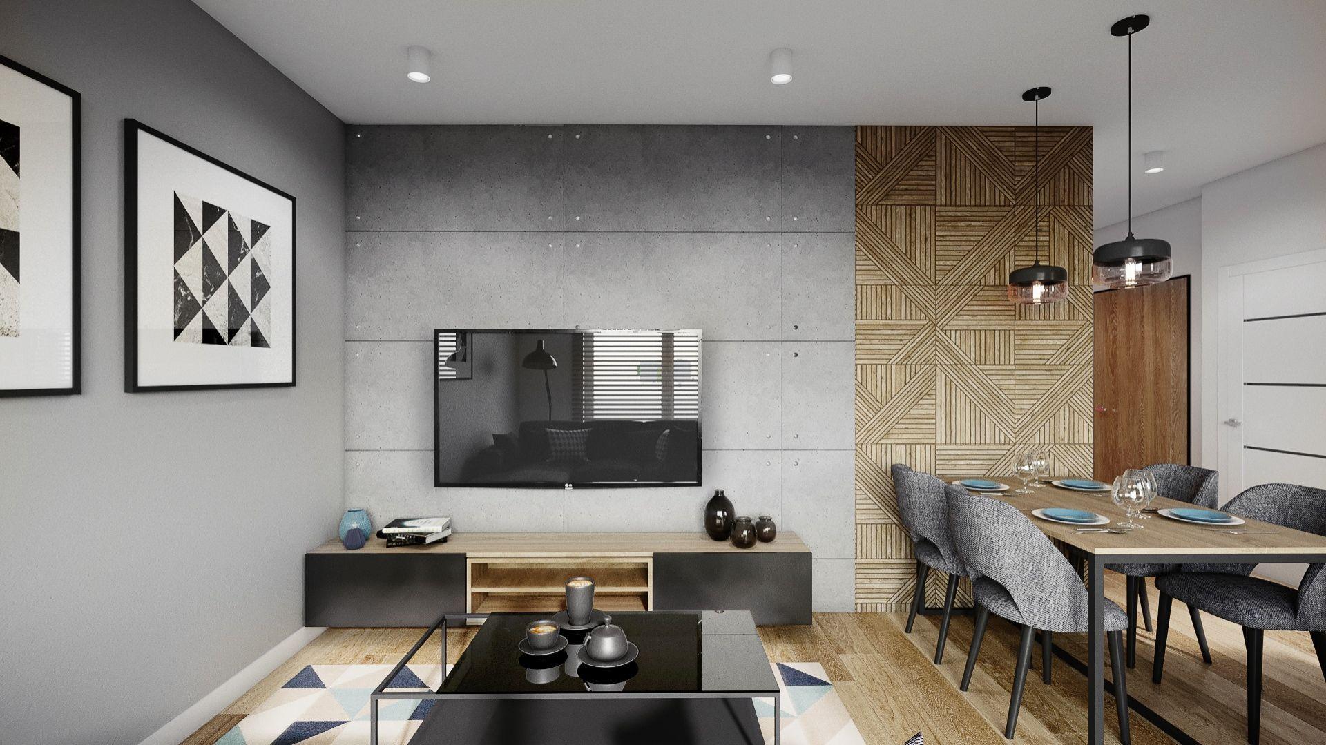 W nowoczesnym salonie szafka pod telewizor doskonale pasuje do kolorystyki i materiałów wykończeniowych. Projekt i zdjęcia: Justyna Krupka, studio projektowe Przestrzenie