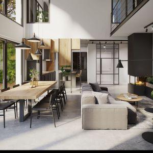 Piękna otwarta kuchnia w domu s tylu industrialnym. Projekt i zdjęcia:  Mallumo Architektura Wnętrz