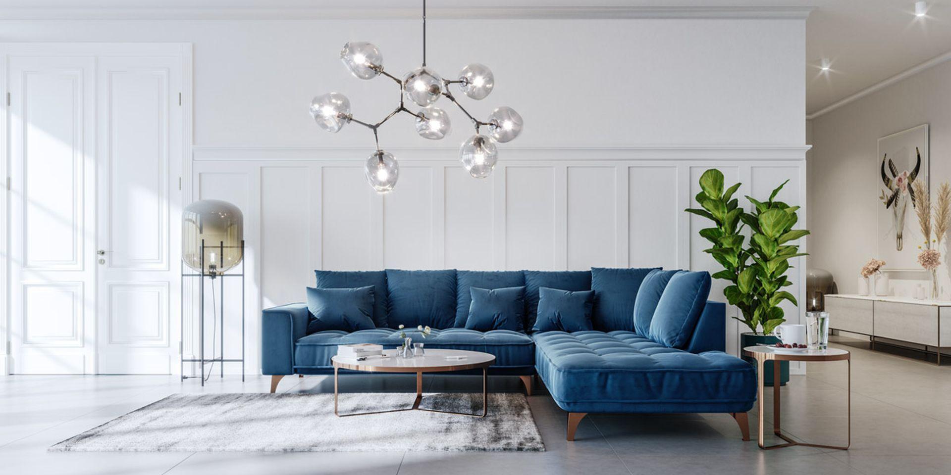 Sofa Belavio - wyjątkowy charakter tworzą bardzo wygodne, miękkie, pikowane siedziska, specjalne marszczenia, zewnętrzne przeszycia i wysokie, metalowe nóżki. Producent: Befame