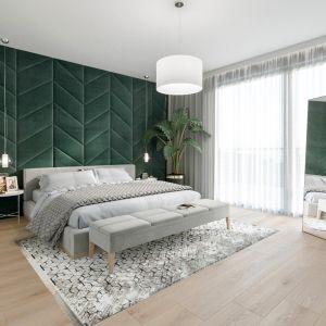 Panele tapicerowane za łóżkiem w sypialni można ułożyć w ciekawy geometryczny wzór. Projekt: NABOO STUDIO