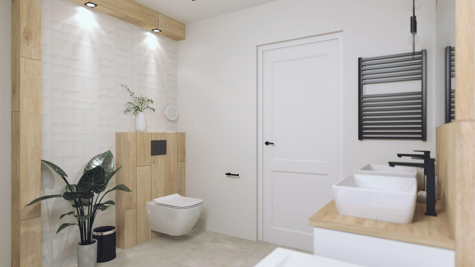 Łazinka dzięki zastosowaniu jasnych kolorów jest bardziej przestronna. Projekt i zdjęcia: Ewa Gil Cer