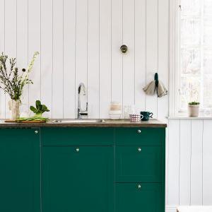 Jest na to prosty sposób – zamiast wymiany kuchennych szafek można je szybko i łatwo przemalować, np. używając emalii Beckers Designer Universal w modnym kolorze Monstera. Fot. Beckers