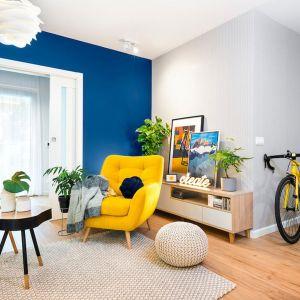 Pledy, poduszki i wygodny fotel - jesień spędzona w tak zaaranżowanym miejscu będzie przyjemniejsza. Projekt wnętrza: Krystyna Dziewanowska, Red Cube Design. Zdjęcia Mateusz Torbus/7TH Idea