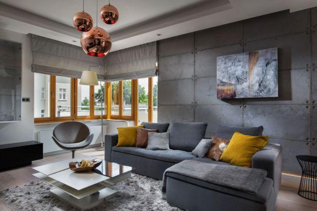 Szukasz pomysłu na oryginale ściany w salonie? Postaw na surowy beton.