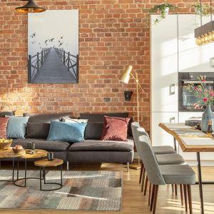 Naturalna cegła na ścianie w salonie. Fot. Dekoria
