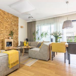 Ścianę w salonie zdobią dekoracyjne drewniane panele z efektem 3D. Projekt: Dorota Kudła. Fot. Pion Poziom
