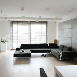 Salon urządzono w minimalistycznym stylu. Projekt: Agnieszka Ludwinowska. Fot. Bartosz Jarosz