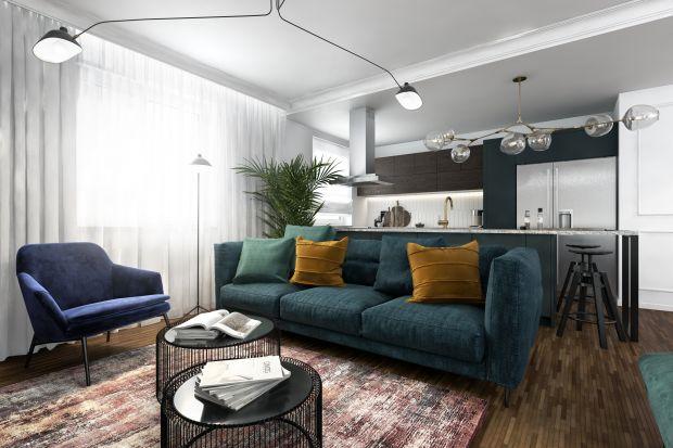 Projekt wnętrza w eklektycznym stylu zachwyca dbałością o każdy detal. Mieszkanie jest jasne, przestronne i bardzo wygodne.Biel pięknie ożywia ciemna zieleń, musztardowe i złote dodatki.<br /><br /><br />