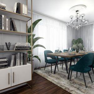 W jadalni ustawiono duży, drewniany stół i tapicerowane krzesła. Projekt: Marta Ogrodowczyk-Trepczyńska, Marta Piórkowska, Oktawia Rusin. Wizualizacje: Elżbieta Paćkowska