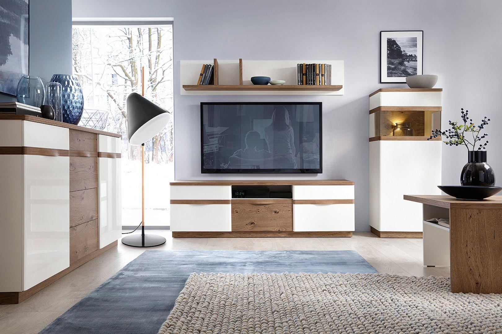 Meble RTV mogą stanowić również 2-elementowy zestaw: stojąca szafka na urządzenie do odtwarzania i wiszący panel na ekran. Fot. Taranko