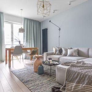 Piękny szary salon ze ścianą w chłodnym wpadającym w błękit odcieniu. Projekt: Anna Fabirowska. Fot. Pion Poziom