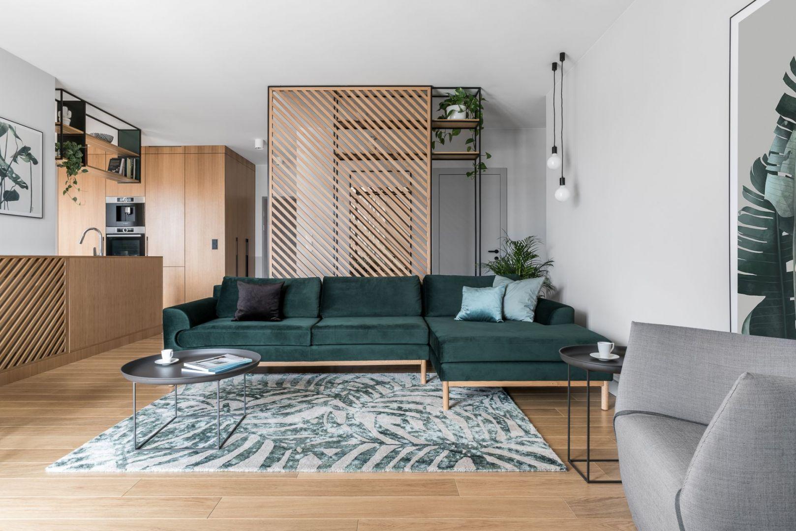 W salonie stanęła kanapa marki Sofa Company (Designzoo) oraz fotel Ume (marka Comforty, Mesmetric). Projekt: Marta i Michał Raca, pracownia Raca Architekci. Zdjęcia: Fotomohito