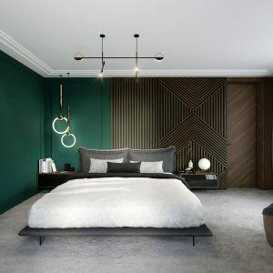 Ścianę w sypialni zdobi drewno i sztukateria w głębokiej zieleni. Projekt Tissu Architecture. Fot. Yassen Hristov